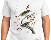 Hermit Thrush Bird Retro Men & Ladies T-shirt - Gift for Bird Lovers and Ornithologist (idc058)