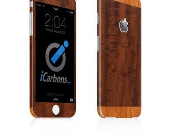 iCarbons 2 Tone Dark / Light Wood Vinyl iPhone 6 / 6 Plus / 6S / 6S Plus Skin Decal FULL COMBO
