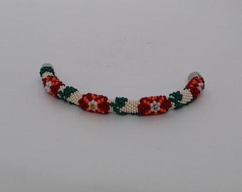 Beaded Crochet Bracelet - flower bracelet - Crochet Bracelet - Crochet jewelry - Flower Bracelet