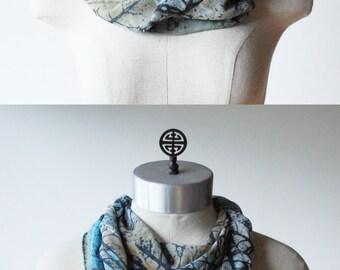 blue and moss silk chiffon scarf