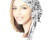 Black White Tichel, Pre tied Bandana, Hair Snood, Chemo Hat, Chemo Cap, Head Scarf, Pretty Feminine Floral, Summer Head Scarf ShariRose