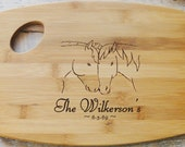 Personalized Wood burned Cutting Board Horses Design