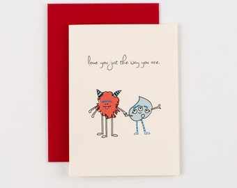 Love You Just the Way You Are Monsters Valentines Love Greeting Card