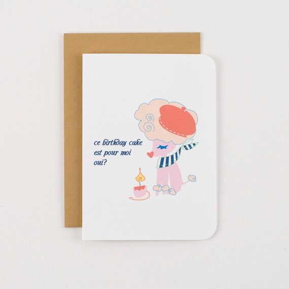 French Poodle Birthday Greeting Card
