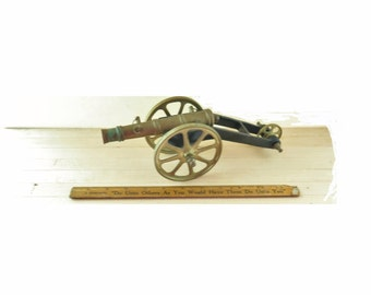 Vintage Field Cannon Civil War Replica Solid Brass Signal Salute Militaria 10 3/4 inches long