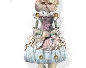 printable paper doll Kitty Marie Antoinette articulated puppet craft kit collage sheet