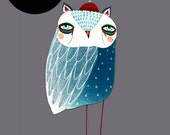 Blue Night Owl. Illustration Art Print., Owl Poster, Kids Print.