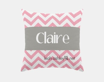 Square Name Pillow Cover - Pink Chevron, Solid Gray - Emery