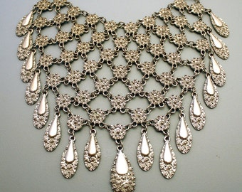 Massive Silver Bib Necklace Metal Mesh Chainmaille Breastplate / Breast Plate Statement Necklace 1970's Haute Couture Jewelry
