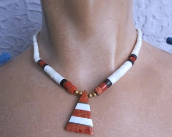 Vintage Hippie Pukka Shell Coral Choker Necklace