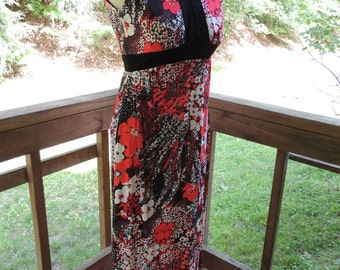 Vintage Maxi Dress / Summer Dress / Floral Dress / Lightweight Dress / Mod Maxi Dress / 70s Long Dress / Mod Sleeveless Dress / Maxi Dress
