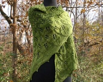 "Downloadable Knitting Pattern - Lace - Top-Down Triangular Shawl - ""Komorebi"" - PDF"