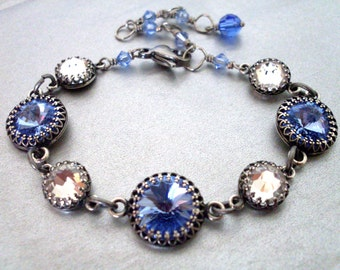 Blue crystal rhinestone bracelet, light blue and clear Austrian crystal in antiqued silver crown settings, vintage style crystal jewelry