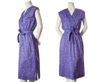 Vintage purple floral summer day dress -- retro sleeveless dress -- size medium