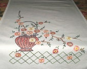 "Vintage Off White Embroidered Linen Runner 13.5"" x 41"""