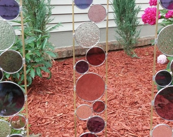Stained glass garden art stake rose grape purple outdoor modern yard decoration garden art