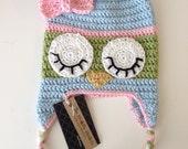 Owl Beanie Earflap Hat Custom Crochet Bird Animal