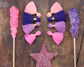 "Pink Purple Mix Mini Tassels: Short Cotton Tassels, Handmade Designer Jewelry Making Supplies,1.25"", 8 pieces, Summer Craft Fashion DIY"