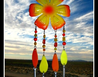 Yellow and Orange Metal Flower Windchime/Mobile
