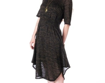 Hi-Side Pleated Sweater Dress wit Elbow Sleeves