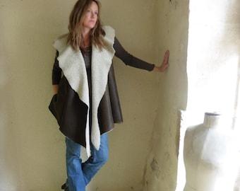 Shearling Sheepskin Vest in Khaki Brown, Vintage Grey or Mushroom Taupe.  Hood or Collar.
