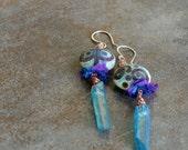 Boho mystic quartz and art glass dangle earrings