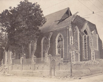 Bombed Out Church- WWI Europe - Bombing Aftermath- 1910s Antique Photograph- Crumbling Ruins- Real Photo Postcard- RPPC- Paper Ephemera