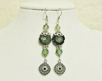 Black and Green Long Dangly Flower Earrings