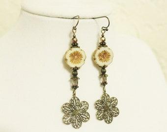 White and Bronze Long Flower Earrings