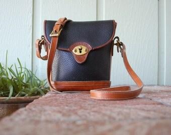 Vintage Dooney & Bourke All Weather Leather Black Brown Designer Purse Bucket Satchel Handbag Shoulder Cross Body Bag Boho Fall Autumn Gift