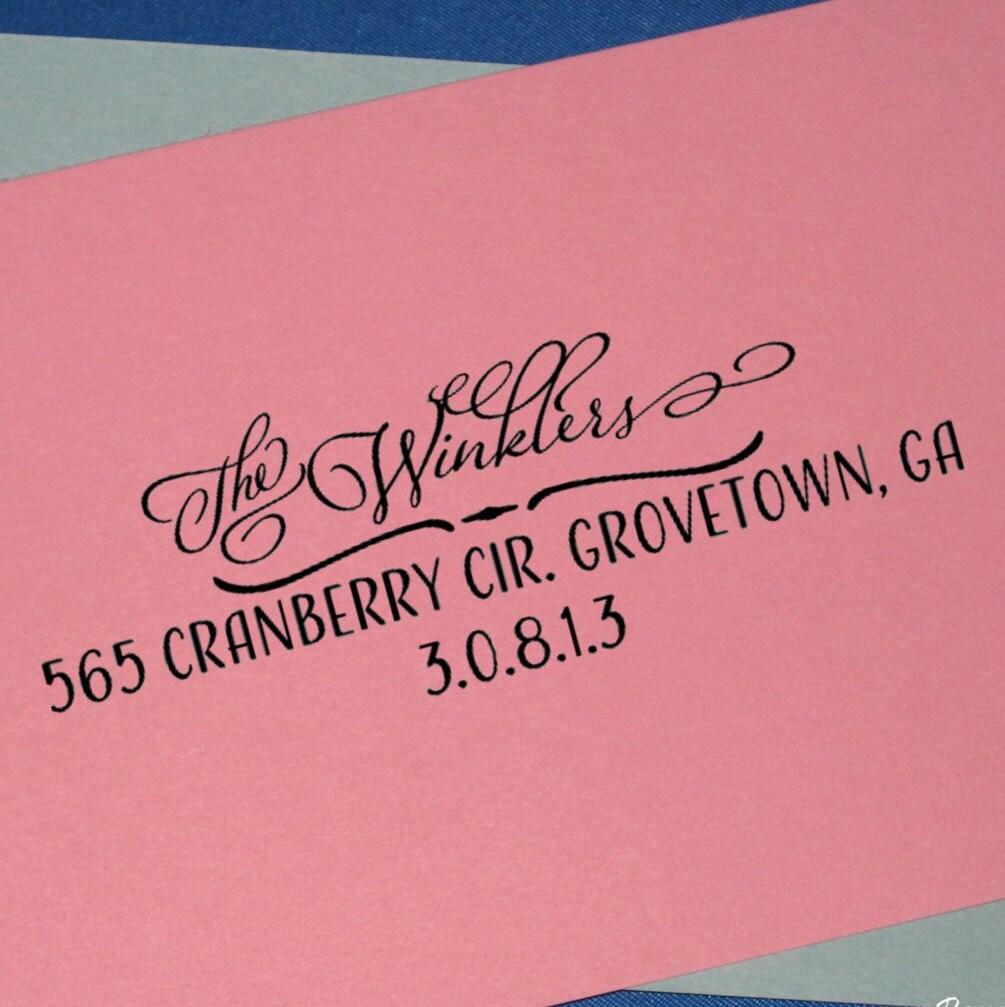 Custom Calligraphy Address Stamp Rustic Wedding Return
