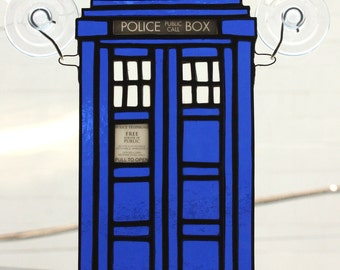 Police Box Stained Glass Suncatcher, Blue Box Sun catcher, Geek Stained Glass, Nerd Stained Glass