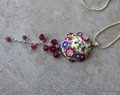 Lovely Polymer Clay Floral Applique Pendant Necklace with Swarovski Crystals