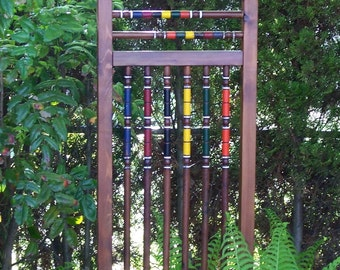 Unique Garden Trellis, Cedar And Repurposed Croquet Set, Funky Garden Art