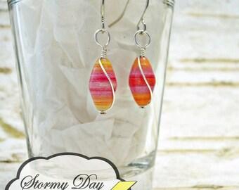 Sherbet Earrings, Sorbet Earrings, Wire Wrapped Earrings, Paper Bead Earrings, Pink Earrings, Orange Earrings, Silver Wire Earrings, Ombre