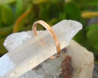Wedding Ring - Stack Ring 14K Rose Gold Filled Hammered Textured - Wedding Band