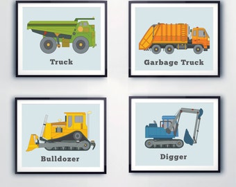 Children's prints. TRUCK images for boys, room decor, Construction prints, Colorful wall art, Garbage truck, bulldozer, digger prints