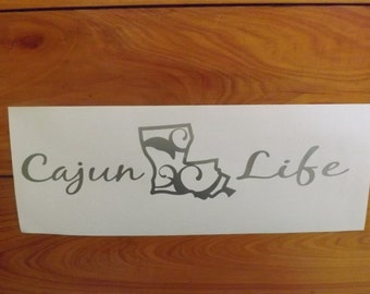 Cajun Life Vinyl Decal For Cars, Trucks, Boats, SUV in Silver