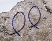 TITANIUM EARRINGS. Titanium fish hoops. Titanium small earrings. fish hoop earrings. small titanium hoops. modern titanium earrings
