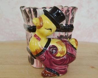 Vintage Gentleman Duck Planter by Elvin