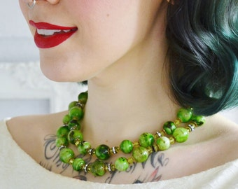 Vintage Double-Stranded Green Plastic Beaded Necklace with Clear Rhinestones