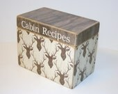 Recipe Box, Deer Head Recipe Box, Brown Kitchen, Rustic Kitchen, Taxidermy Style, 4x6 Wooden Recipe Box, Recipe Organizer