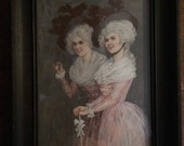 Wonderful Antique romantic litograph of 2 French Ladies in 1800's dress antique dark wood frame with blown glass