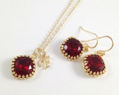 Garnet Jewelry Set - Swarovski Crystal Cushion Cut Wine Red Necklace and Earrings Set - Personalized Initial Necklace Gold Bezel Setting