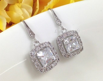 Bridal CZ Earrings - Square Princess Cut Wedding Prom Bridesmaids Jewelry - Short Dangle Sparkling Cubic Zirconia Earrings