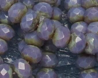 Lavender Opal Rondelles - 6x8mm Czech Glass - 25 Beads