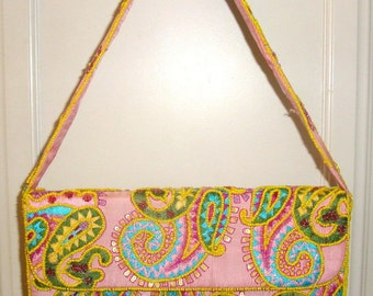 Pierre URBACH Beaded Handbag Pink Silk Sequins Embroidery Paisley Baguette 90's Purse New Condition Never Used