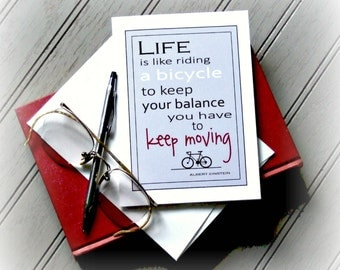 Bicycle Motivational Note Card,Bicycle Card, Albert Einstein Quote Greeting Card,Motivational Bicycle Card