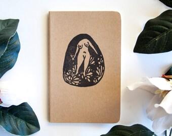 Feminist Illustration Moleskine Notebook/ Sketchbook/ Journal/ Notepad- Block Print Minimal Surreal Graphic
