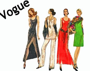 Very Easy Very Vogue Evening Dress Tunic Pants Shorts and Shawl 1970s Sewing Pattern Size 10 Bust 32 1/2  Vogue 8164